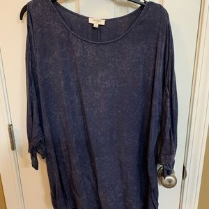 Umgee cold shoulder mineral wash tie sleeve tunic